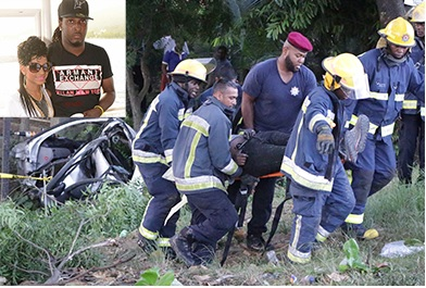 Fire officers remove one of the injured men from the wreckage along the Uriah Butler Highway near Biljah Road, Chaguanas, yesterday. Inset: Driver Kevin Frederick and his girlfriend Britney Balroop who were killed in the collision.