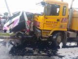 The two vehicles minibus BTT 8079 and motor lorry GVV 6306 after the accident.