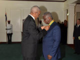 President David Granger conferring Prime Minister of Barbados Freundel Stuart with the Order of Roraima earlier this year
