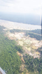 Mining activities on the left bank of the Essequibo River immediately outside of Omai