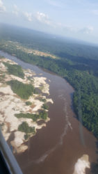 Mining activities on the right bank of the Potaro River, downstream of Tumatumari, November 27, 2016