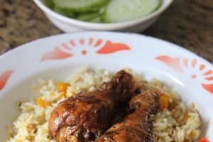 Pumpkin Rice with Baked Chicken (Photo by Cynthia Nelson)
