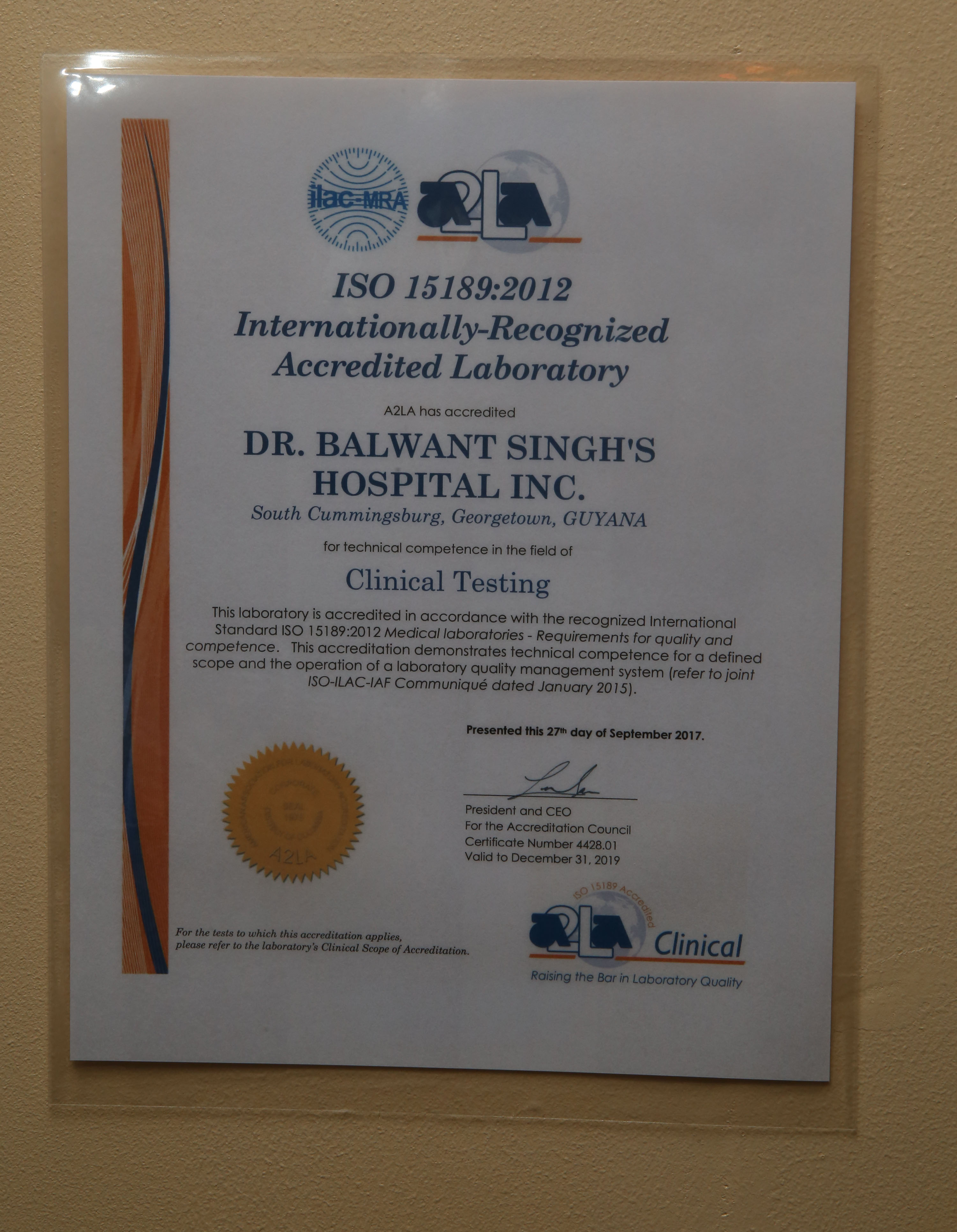 Dr balwant singhs labs attain international status first in the iso 151892012 certificate of accreditation which was presented to the dr balwant singhs hospital inc keno george photo xflitez Gallery