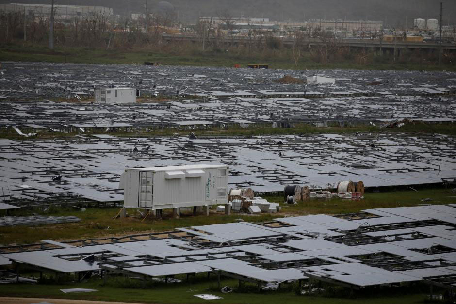 Damaged solar panels are seen after the area was hit by Hurricane Maria in Humacao Puerto Rico