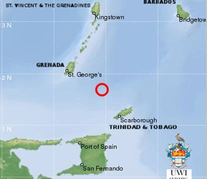 Strong quake south east of grenada stabroek news of grenada it was located at 1183n and 6106w with a magnitude of 57 and depth of 45km it was reported as felt across several islands from sciox Choice Image