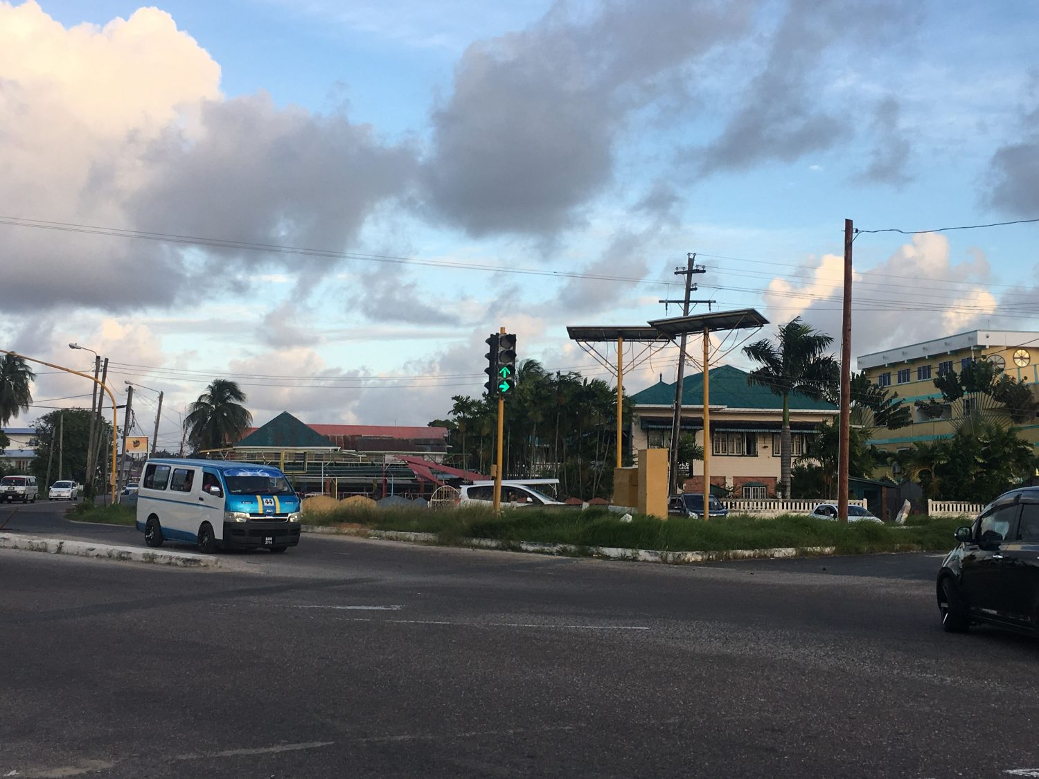One of the traffic lights at the junction of Carifesta Avenue and Vlissingen Road working  again  yesterday afternoon.