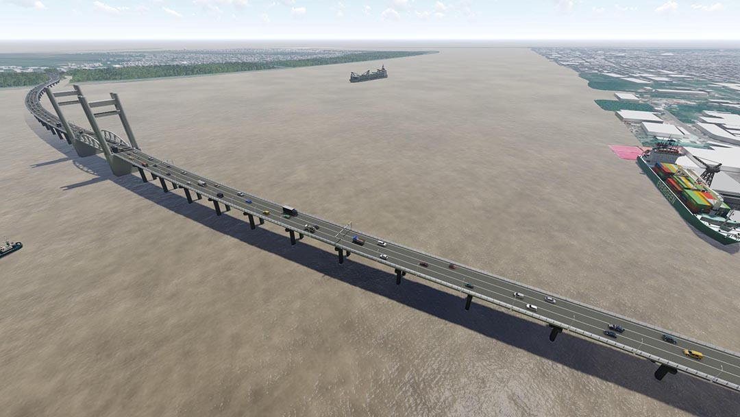 An artist's impression of the new Demerara Harbour Bridge (Ministry of Public Infrastructure rendering)