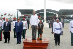President David Granger standing on the podium, along with the student dressed as an army officer for her school's career day. To their left left are Social Cohesion Minister George Norton and Prime Minister Moses Nagamootoo, while acting Commissioner of Police David Ramnarine is at right.  (Photo by Terrence Thompson)