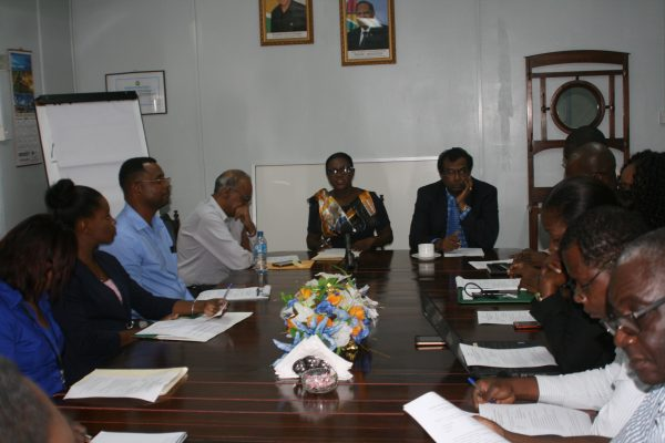 Officials at the meeting (GuySuCo photo)