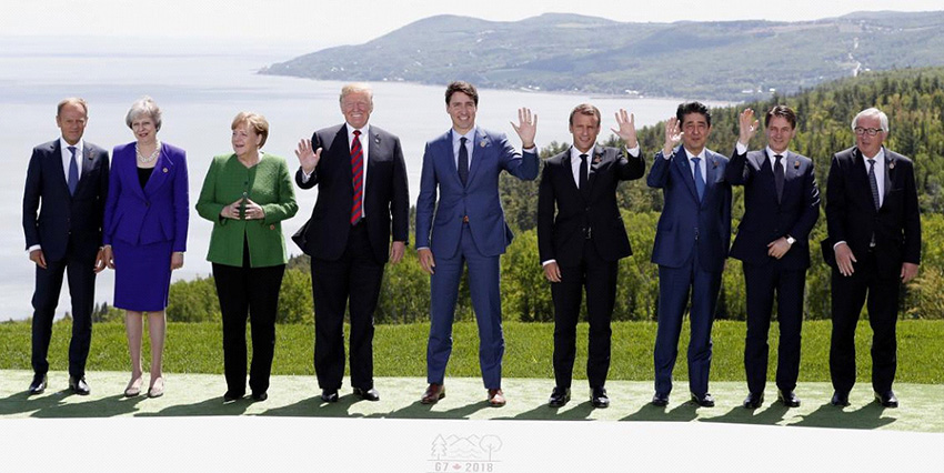 G-7 leaders race to salvage consensus as trade roils summit