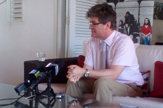 British High Commissioner To Guyana Gregory Quinn Addressing Reporters At His Residence