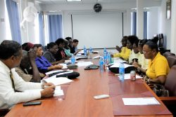 The Ministry of Education (left) and the Guyana Teachers Union met again yesterday to discuss the Teachers Multi-Year agreement. There was no progress on wages. (Ministry of Education photo)