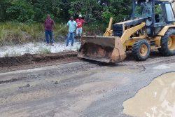 Remedial works being undertaken on the Kuru Kuru access road yesterday morning.