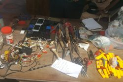 Some of the items that were unearthed on Monday at the Lusignan Prison holding bays.