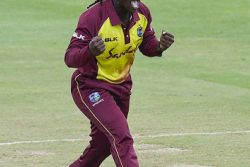 Seamer Deandra Dottin celebrates one of her three wickets during a Player-of-the-Match performance yesterday. (Photo courtesy CWI Media)