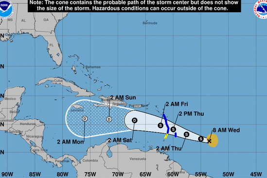 Tropical Storm Kirk intensifies as it nears Barbados