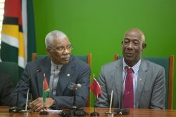 President David Granger & Prime Minister of T&T Dr. Keith Rowley (Department of Public Information photo)