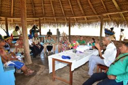 President David Granger (second from right) addresses Toshaos of the South Rupununi after hearing their concerns on a number of issues. (Ministry of the Presidency photo)