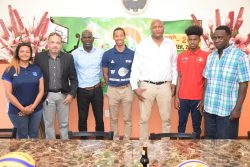GABF President Nigel Hinds (3rd from right) and IBF representative Theren Bullock (centre) posing with members of the launch party for the IBF Under-18 Antilles 3×3 Championships. Also in the photo are Guyana Boys Coordinator Mark Agard (right), Guyanese player Shamar France (2nd from right), GBOC President Dexter Douglas (3rd from left), GABF Vice-President Michael Singh (2nd from left) and Change Foundation representative Navjeet Sira.
