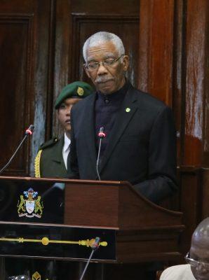 President David Granger addressing Parliament yesterday
