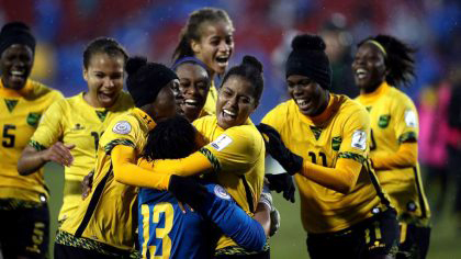 The Reggae Girls celebrating their victory over Panama which sent them to the 2019 Women's World Cup in France.