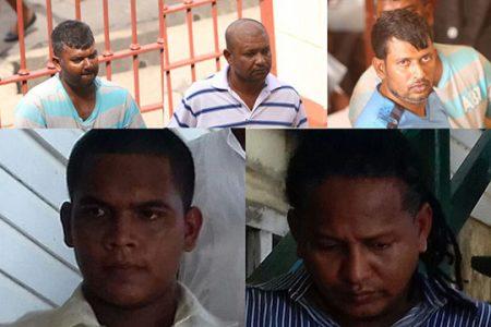 From top left to right: Niran Yacoob, Harri Paul Parsram, Radesh Motie. Bottom left to right: Diodath Datt, Orlando Dickie