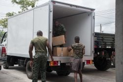 Hampers being packed for Venezuelans in Region One (DPI photo)