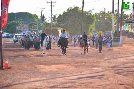 A horseback parade during the launch of Lethem Town Week. (GO-Invest photo)