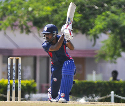 Monank Patel drives during his maiden hundred against Jamaica Scorpions at 3W's Oval yesterday. (Photo courtesy CWI Media)