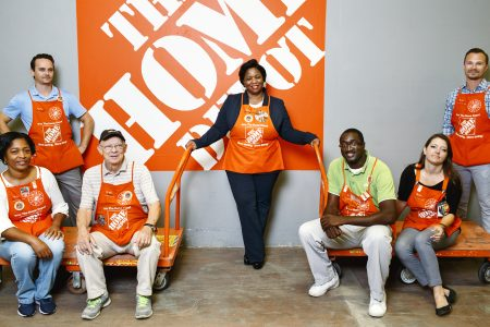 Executive Vice President of U.S. stores for The Home Depot Ann-Marie Campbell is photographed with store employees at an Atlanta area store.
