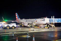 American Airlines last night at the boarding bridge (DPI photo)