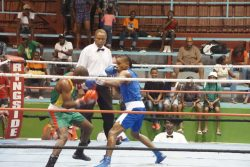 Best boxer, Keevin Allicock cruised to his second TKO win versus Clairmont Gibson in their bantamweight trilogy last night at the National Gymnasium.