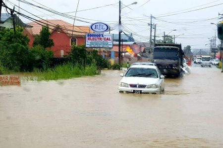 Flooding along the S.S Erin Road, Penal.