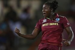 Stafanie Taylor is pumped after taking a wicket (ICC photo)