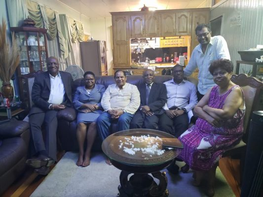 APNU+AFC coalition leaders meeting yesterday. From left are:  APNU General Secretary Joseph Harmon, PNCR Chairman Volda Lawrence, Prime Minister and AFC elder statesman Moses Nagamootoo, Vice President and Minister of Foreign Affairs Carl Greenidge, AFC executive member, David Patterson, AFC Chairman Khemraj Ramjattan and PNCR General Secretary, Amna Ally. (APNU+AFC photo)