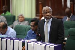 Minister of Foreign Affairs Carl Greenidge addressing the National Assembly on Friday