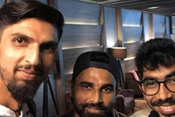 Ishant Sharma (left) clicks a selfie with Mohammed Shami (centre) and Jasprit Bumrah. (Source: Twitter)