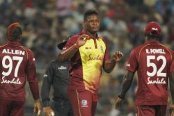 Rookie speedster Oshane Thomas (centre) was left out of the XI for the decisive third ODI.