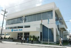 The Republic Bank (Guyana) Limited branch at Camp and Robb streets. (Stabroek News file photo)