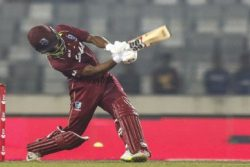 Shai Hope goes on the attack during his unbeaten 146 in the second ODI against Bangladesh on Tuesday.