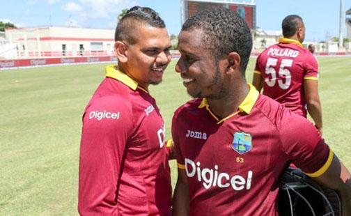 West Indies off-spinner Sunil Narine (left) and opener Evin Lewis … two of the players missing from the Windies one-day tour of Bangladesh.