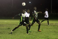 Mahaica Determinators defeated Santos 1-0 to clinch the third position in the Turbo Knockout Football Championship yesterday at the Ministry of Education ground, Carifesta Avenue. Eion Abel recorded the lone goal in the matchup, etching his name on the scorer's sheet in the 45th minute. Up to press time, the grand finale between Northern Rangers and GFC was being contested. Action between Mahaica and Santos at the Ministry of Education ground in the Turbo Knockout Football Championship (Orlando Charles photo)