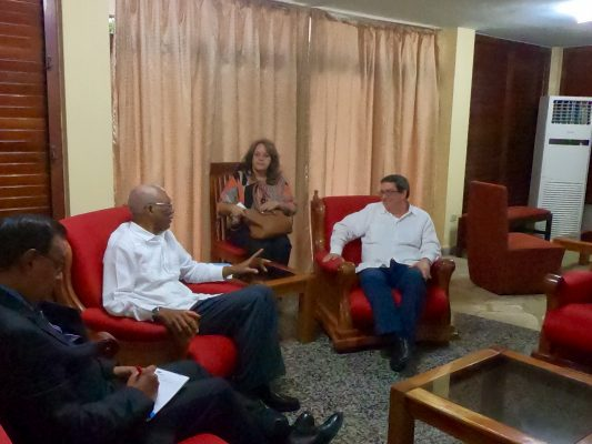 President David Granger (second from left) meeting with Cuban Foreign Minister Bruno Rodriguez Parrilla (right).