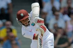 West Indies batsman Shai Hope goes on the attack during his career-best half-century in the opening Twenty20 International yesterday.
