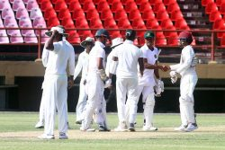Four-time reigning champions Guyana Jaguars lead the Cricket West Indies Regional four-day tournament with four outright wins from as many matches. (Orlando Charles photo)