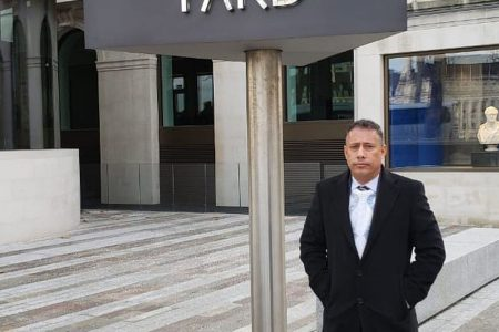 Police Commissioner Gary Griffith stands outside the New Scotland Yard during his visit to the UK.