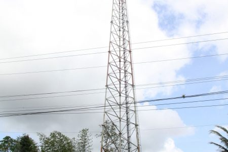 The cell tower at St Mary's, Moruga, where a man climbed up on Tuesday.