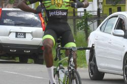 Berbician, Romello Crawford drew first blood in this year's Burnham Memorial Three-Stage Road Race yesterday, winning the first leg in front of his hometown fans that lined the streets. (Orlando Charles photo)