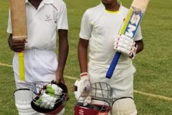 (l-r) Dynamic openers, Jayden Campbell and Romeo Deonarain after sharing an unbroken 80-run partnership that saw Georgetown winning the DCB Inter-Association U15 tournament
