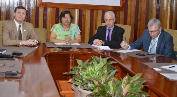 In photo seated left to right are Terry Steers Gonzales – Deputy Chief of Mission, Embassy of the United States of America; Lilian Chatterjee – High Commissioner of Canada to Guyana; Ray Davidson – Deputy High Commissioner of the United Kingdom to Guyana; Philippe Coessens – Minister Counsellor / Deputy Head of Delegation, European Union. (GECOM photo)